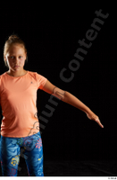 Esme  1 arm dressed flexing front view sports t shirt 0004.jpg